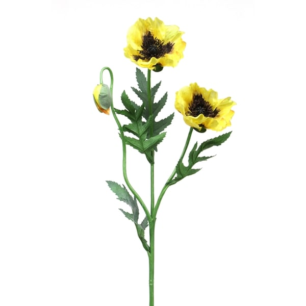 Yellow 26-inch 2-flower Poppy Stem (Pack of 6)