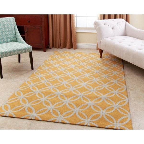 ABBYSON LIVING Hand-tufted Piper Mustard Yellow New Zealand Wool Rug (5' x 8')