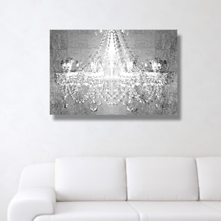 Oliver Gal 'Dramatic Entrance Chrome' Gray Glam, Fashion Chandeliers Gallery Wrapped Canvas Art