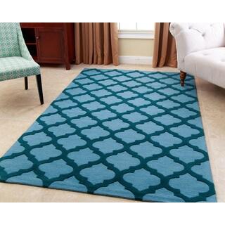 Abbyson Living Hand-tufted Vera Ocean Blue New Zealand Wool Rug (8' x 10')