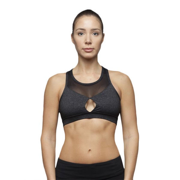 Contrast Caged-back Sport Bra With Mesh