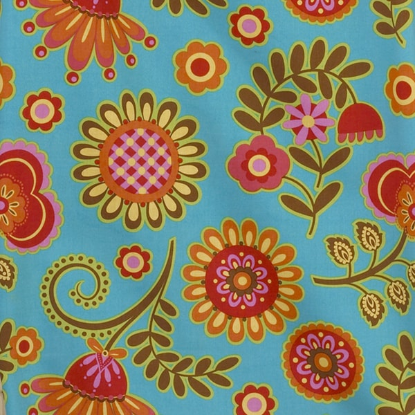 Gypsy Blue Background Big Flower Fabric (3 Yards)