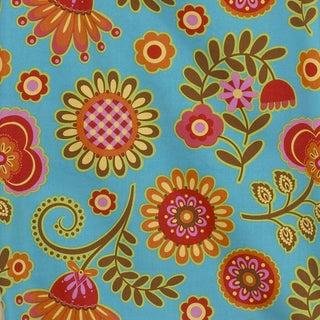 Gypsy Blue Background Big Flower Fabric (3 Yards)