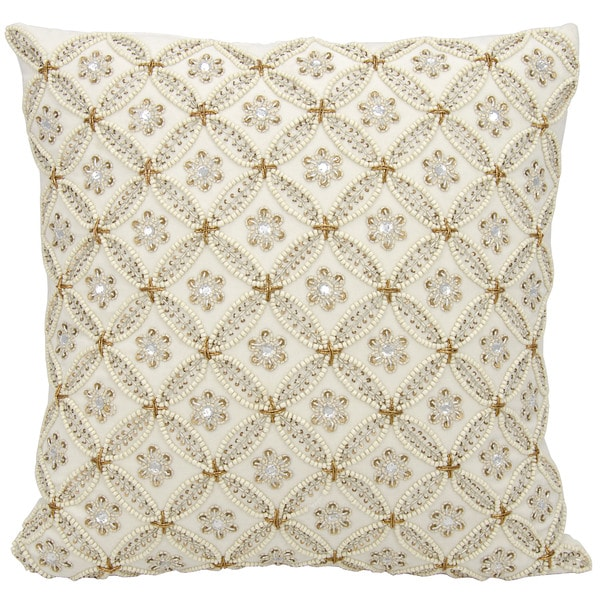 Mina Victory Luster Golden Trellis Ivory 18 x 18-inch Throw Pillow by Nourison