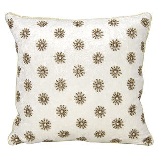 Mina Victory Couture Luster Sun Shimmer Ivory Throw Pillow (16-inch x 16-inch) by Nourison