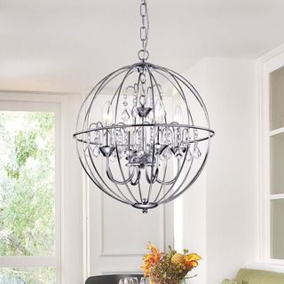 Avee 4-light Crystal 16.5-inch Chrome Spherical Chandelier