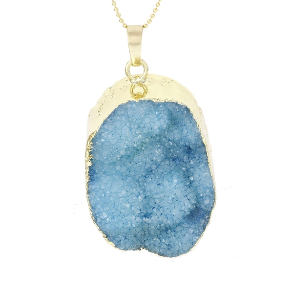 Fox and Baubles Sterling Silver Blue Druzy Quartz Pendant