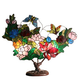 Flora 3-light Floral 26-inch Stained Glass Tiffany-style Table Lamp