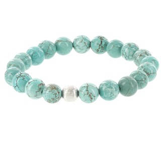Fox and Baubles Brass Men's Turquoise and Silver Beaded Stretch Bracelet