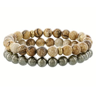 Fox and Baubles Fossil, Pyrite and Brass Men's Double Beaded Stretch Bracelet