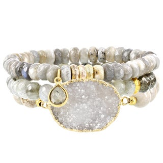 Fox and Baubles Brass Triple Faceted Labrodite, Pyrite, Fossil and Druzy Quartz Bracelet