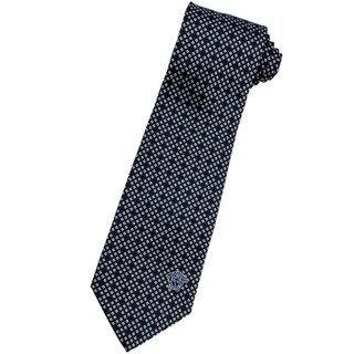 Versace 100-percent Italian Silk 3-inch Wide White/ Black Neck Tie