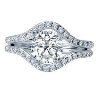 14k White Gold 1/2ct TDW Diamond and Cubic Zirconia Center Semi-mount Engagement Ring (H-I, SI1-SI2)