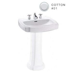 Toto Guinevere Pedestal Vitreous China Bathroom Sink LT972.8#01 Cotton White