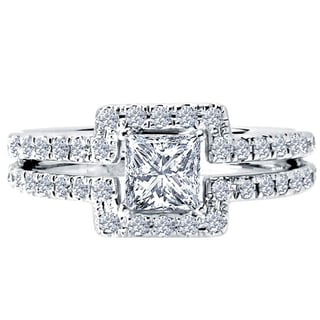 14k White Gold 1/2ct TDW Diamond and Cubic Zirconia Center Square Engagement Ring (H-I, SI1-SI2)