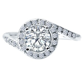 14k White Gold 1/3ct TDW Diamond and Cubic Zirconia Center Stone Engagement Ring (H-I, SI1-SI2)