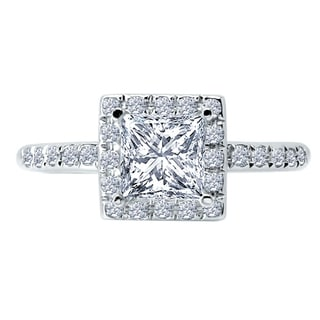 14k White Gold 1/3ct TDW Diamond and Cubic Zirconia Center Halo Engagement Ring (H-I, SI1-SI2)