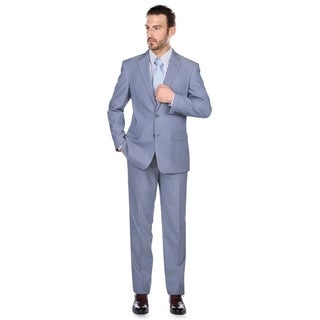 Verno Niccolo Men's Grey And Blue Pinstripe Classic Fit Italian Style 2-piece Suit
