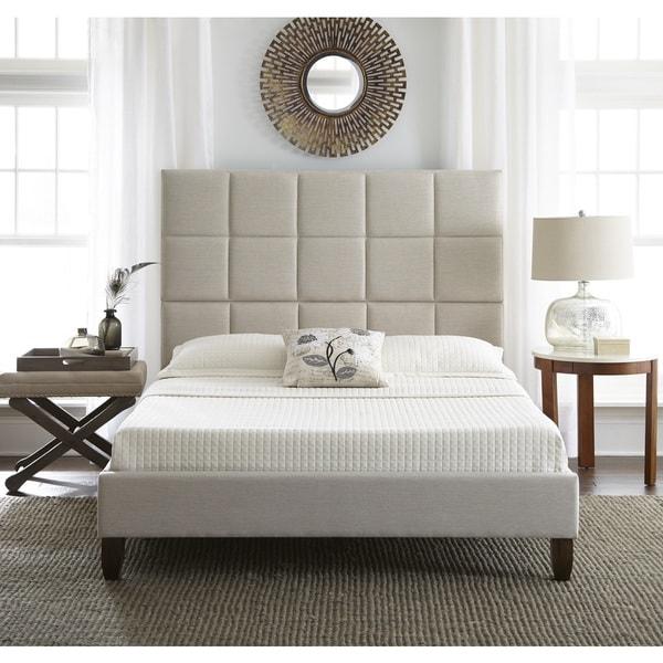 Sleep Sync Quincy Upholstered Linen Platform-Slat Bed Complete
