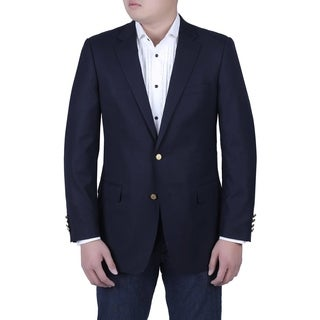 Verno Tommasco Men's Navy Classic Fit Italian Style Blazer with Brass Buttons