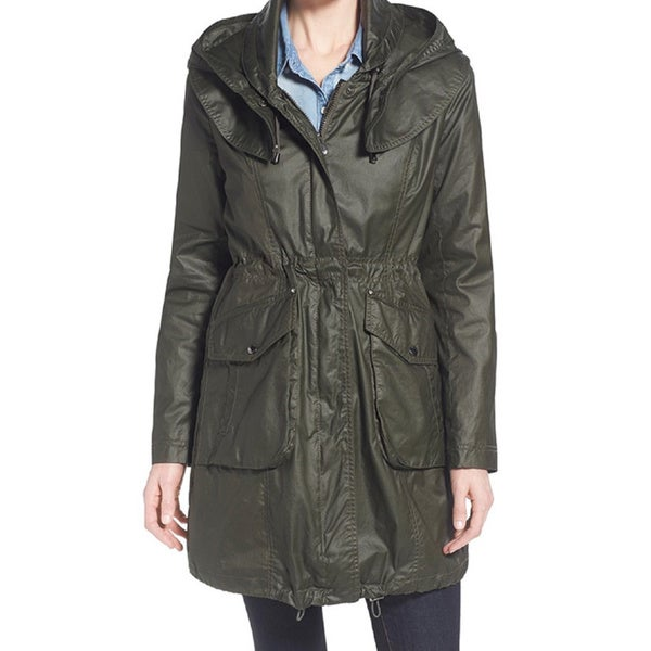 Laundry by Shelli Segal Army Green Waxed Rain Coat