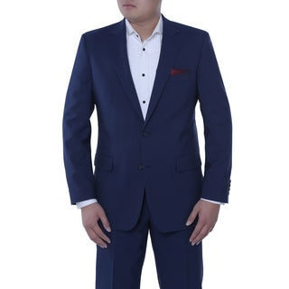 Verno Bartolomeo Men's Dark Cobalt Blue Classic Fit Italian Style 2-piece Suit