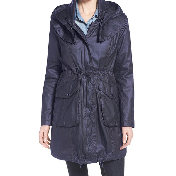 Laundry By Shelli Segal Navy Blue Wax Rain Coat