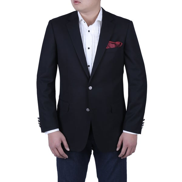 Verno Michele Men's Black Classic Fit Italian Style Blazer with Silver Metal Buttons