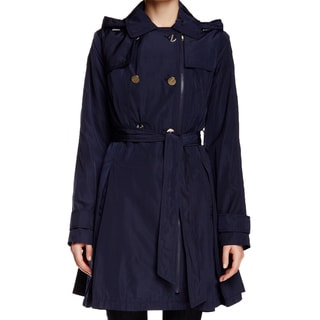 Laundry by Shelli Segal Blue Skirted Trench Coat