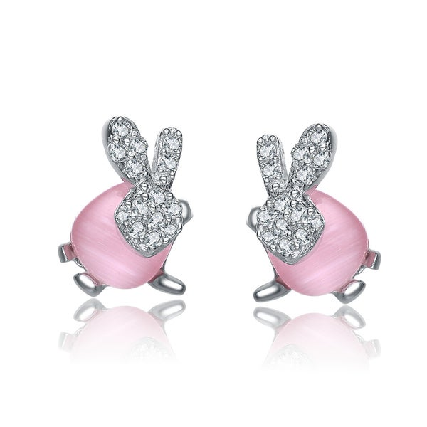 Collette Z Sterling Silver Cubic Zirconia Blue Bead Bunny Earrings