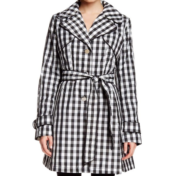 Laundry by Shelli Segal Black Checked Trench Coat