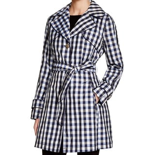 Laundry by Shelli Segal Blue Black Check Trench Coat