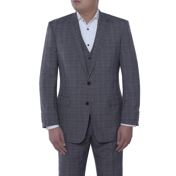 Verno Men's Giovanni Grey and Black English Plaid Classic Fit Italian Style 3-piece Suit