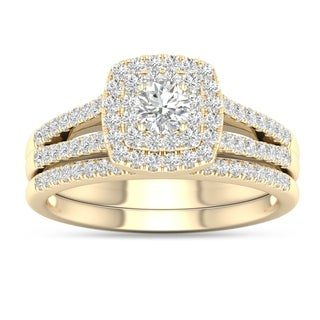 De Couer 10k Yellow Gold 3/4ct TDW Diamond Cluster Engagement Ring Set with One Band (H-I, I2)
