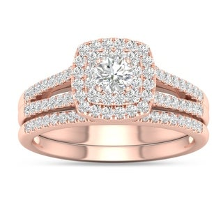 De Couer 10k Rose Gold 3/4ct TDW Diamond Cluster Engagement Ring Set with One Band (H-I, I2)