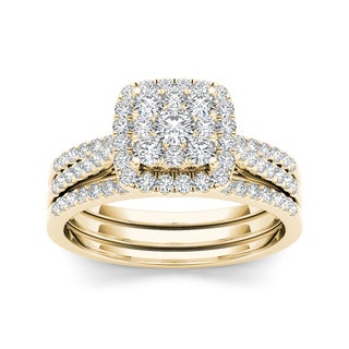 De Couer 10k Yellow Gold 1ct TDW Diamond Cluster Engagement Ring Set with Two Bands (H-I, I2)