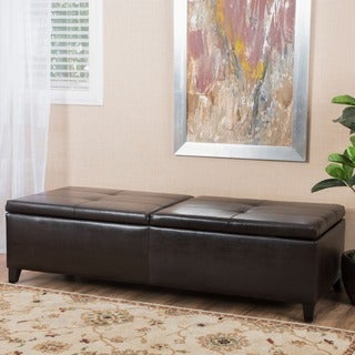 Christopher Knight Home Alfred Faux Leather Large Storage Ottoman Bench
