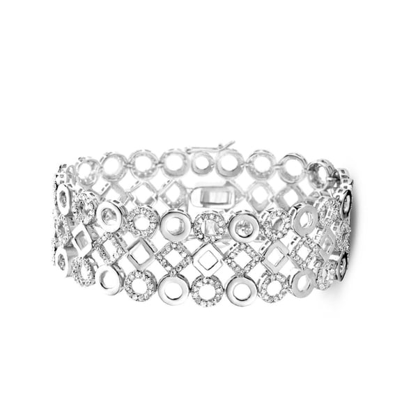 Collette Z Sterling Silver Cubic Zirconia Lattice Bracelet