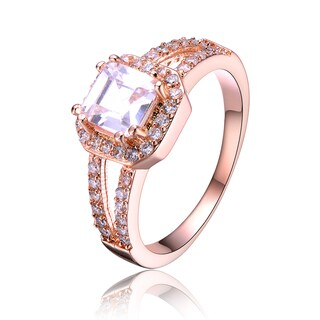 Collette Z Rose Gold Overlay Pink Emerald Cut Cubic Zirconia Ring
