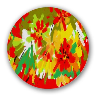 Red/ Yellow/ Orange Abstract Tangerine Custom Printed Lazy Susan