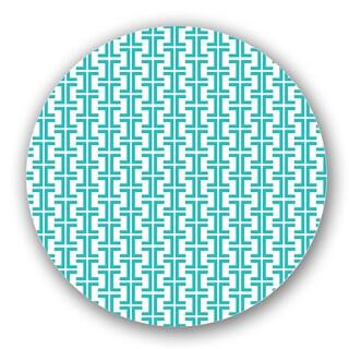 Green Geometric Lattice Custom Printed Lazy Susan