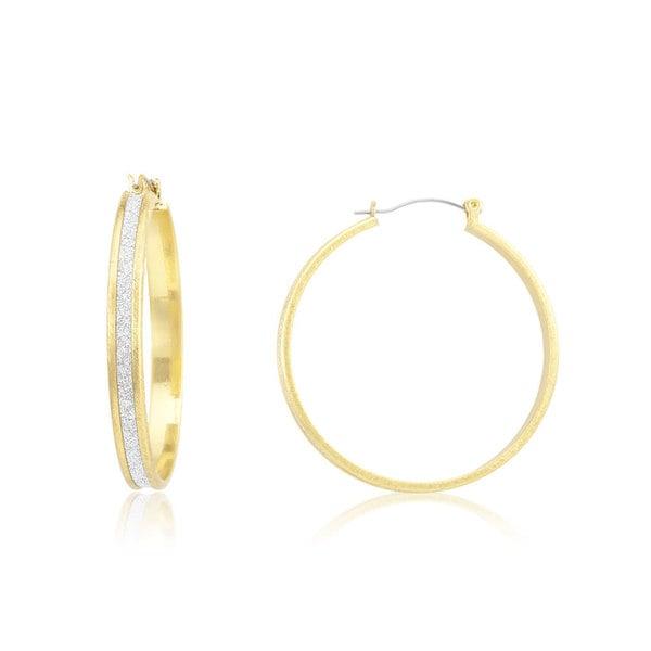 18k Yellow Gold Overlay Glitter Lining Wide Hoop Earrings