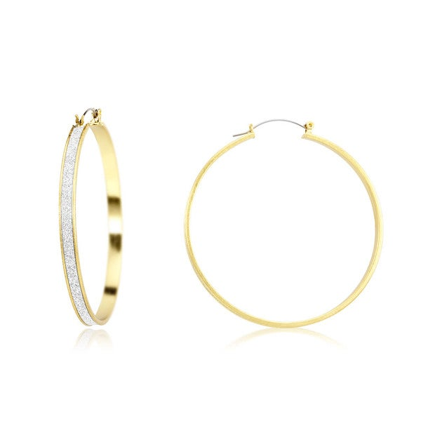 18k Yellow Gold Overlay Silver Glitter Lining Hoop Earrings