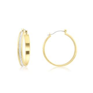 18k Gold Overlay Glitter Hoop Earrings