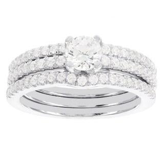 H Star 14k White Gold 1 1/4ct TDW Diamond Wedding Set (I-J, I2-I3)