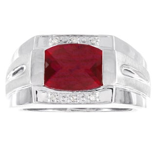 H Star Sterling Silver Men's Ruby and Diamond Accent Ring (H -I, I1-I2)