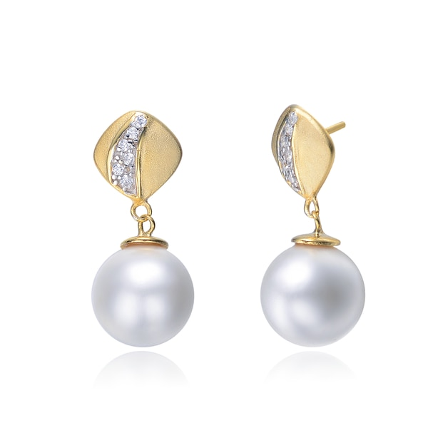 Collette Z Gold Overlay Cubic Zirconia Accent Pearl Drops