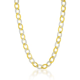 Collette Z Gold Overlay Cubic Zirconia Small Alternating Circle Link Necklace