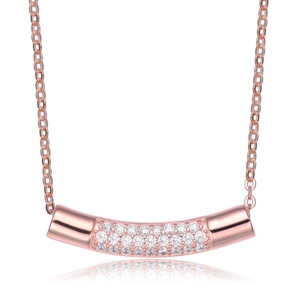 Collette Z Rose Overlay Cubic Zirconia Curve Line Necklace