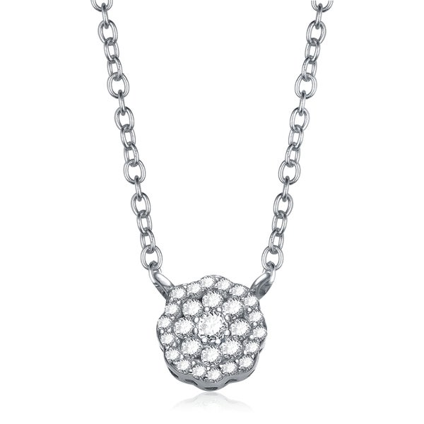 Collette Z Sterling Silver Round Pave Cubic Zirconia Pendant Necklace